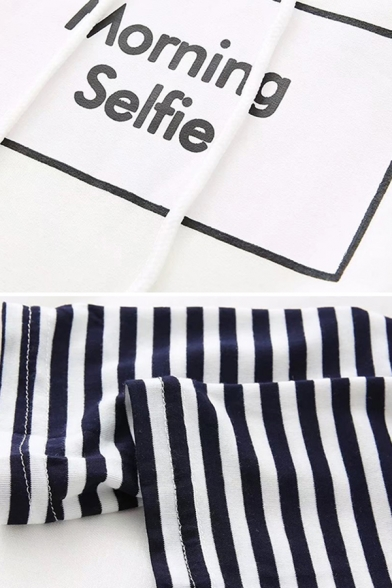 Korean Style Ladies Long Sleeve Drawstring Letter MORNING SELFIE Stripe Panel Pouch Pocket Loose Hoodie