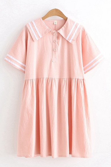 Preppy Girls Short Sleeve Sailor Collar Striped Button Up Short Pleated Swing Dress