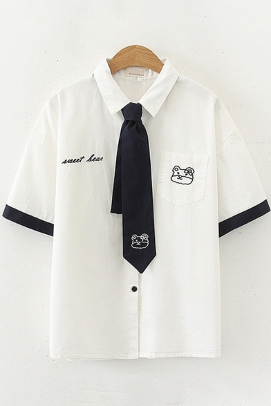 Preppy Looks Short Sleeve Lapel Collar Button Down Cat Letter Embroidered Contrast Piped Tie Relaxed Shirt in White