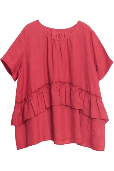 Pretty Vintage Ladies Solid Color Short Sleeve Round Neck Ruffled Trim Cotton and Linen Oversize Shirt