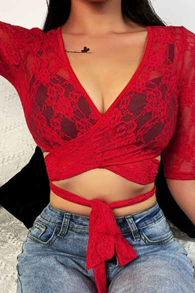 Sexy Womens Red Three-Quarter Sleeve Surplice Neck Criss Cross See-Through Lace Tie Waist Fitted Crop T-Shirt