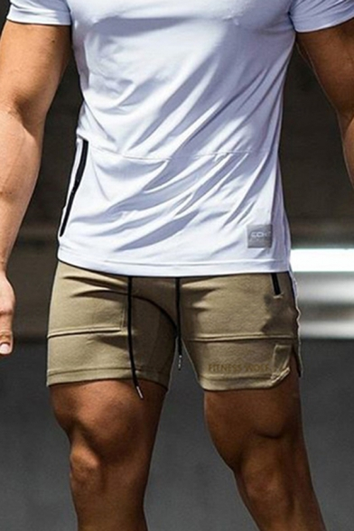 Unique Mens Drawstring Waist Letter FITNESS WOLF Slit Side Fit Shorts
