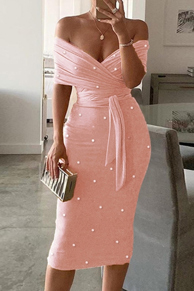 Amazing Gorgeous Ladies Short Sleeve Off the Shoulder Ruched Tied Waist Pearl Decoration Long Bodycon Evening Dress