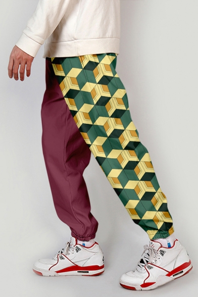 Cool Mens Mid Rise Allover Geometric Printed Cuffed Tapered Fit Pants