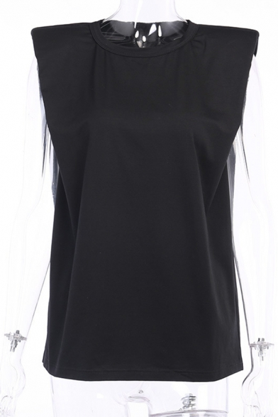 Formal Fancy Ladies Sleeveless Round Neck Solid Color Relaxed Fit Tee