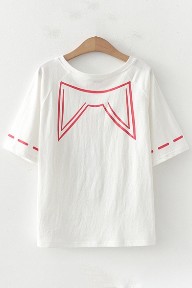 Harajuku Womens Short Sleeve Round Neck Cat Stripe Printed Relaxed Fit T Shirt