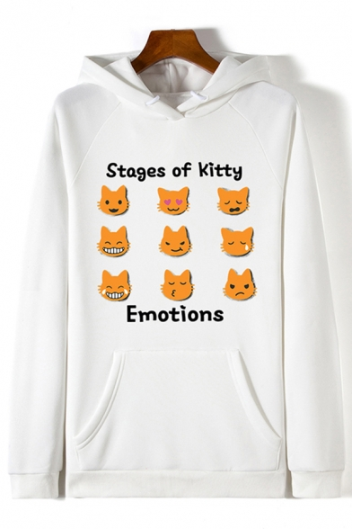Preppy Girls Long Sleeve Drawstring Letter STAGES OF KITTY EMOTIONS Cat Graphic Pouch Pocket Loose Hoodie LC608022 фото