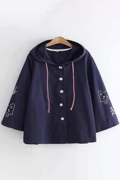 Preppy Looks Long Sleeve Hooded Drawstring Button Up Chinese Letter Cartoon Cat Graphic Relaxed Cape Coat