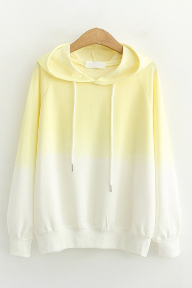 Pretty Girls Long Sleeve Drawstring Ombre Color Block Loose Fit Hoodie