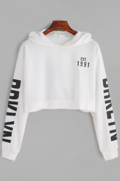 Street Cool Long Sleeve Letter EST 1991 Printed Relaxed Cropped Hoodie for Girls
