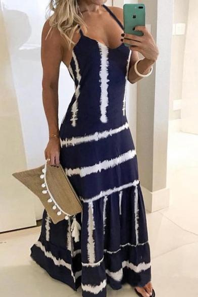 Trendy Fancy Womens Sleeve Stripe Print Colorblocked Maxi A-Line Cami Dress