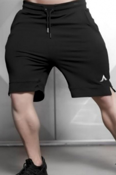 Active Fitness Boys Drawstring Waist Logo Print Slit Side Relaxed Fit Jogger Shorts