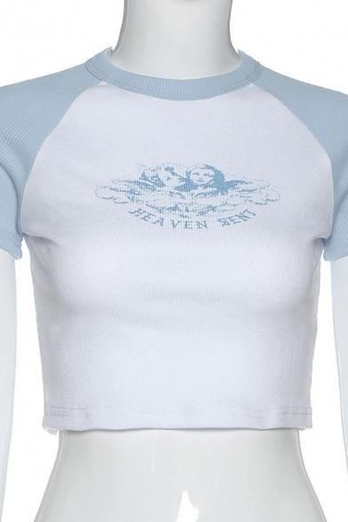 Basic Summer Short Sleeve Crew Neck Angel Print Letter HEAVEN SENT Graphic Slim Fit Crop T-Shirt in White