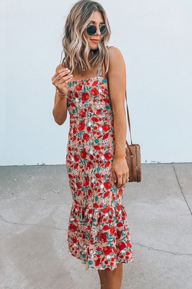 Chic Fancy Womens Sleeveless All Over Floral Print Ruffled Trim Long Fishtail Cami Dress in Red