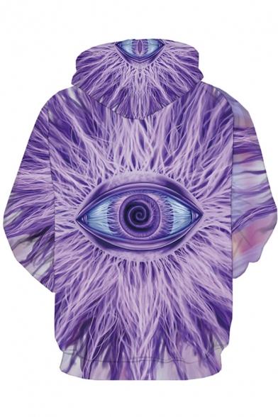 Chic Unique Long Sleeve Drawstring Creepy Eyes 3D Print Kangaroo Pocket Relaxed Fit Hoodie in Purple