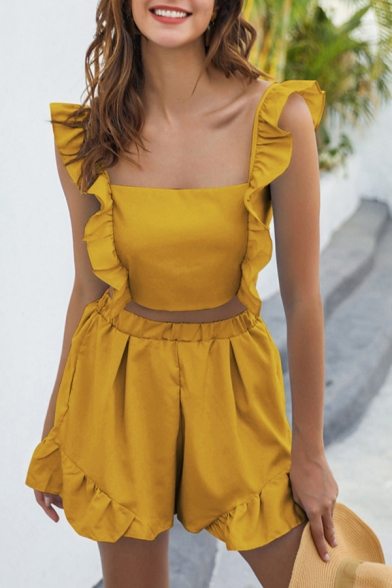 Fancy Ladies Sleeveless Square Neck Ruffled Trim Bow Tie Back Slim Fit Crop Top & Relaxed Fit Shorts Two Piece Sets in Yellow, LM609913