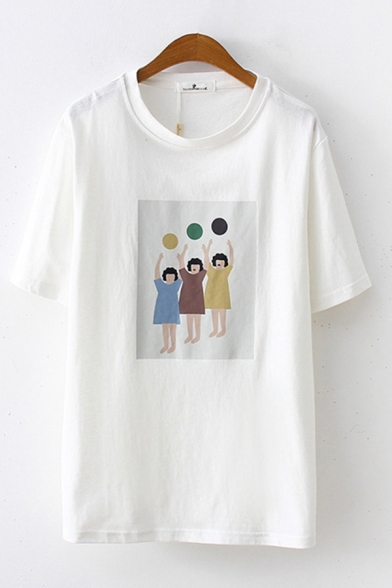 Fashionable Womens Short Sleeve Round Neck Cartoon Printed Loose Fit Tee Top