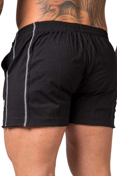 Mens Training Elastic Waist Letter IN Print Contrast Piped Slim Fit Shorts