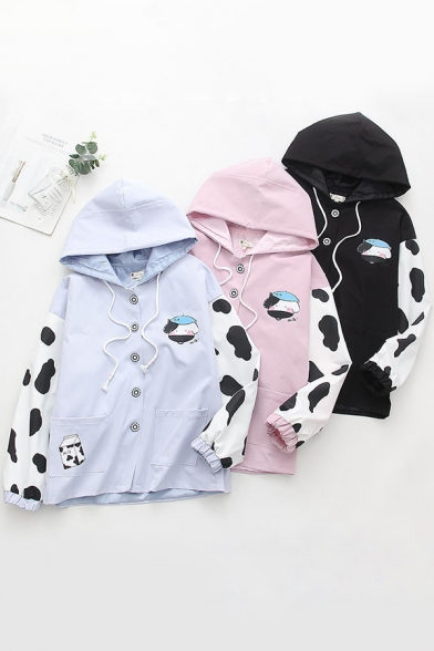Popular Girls Long Sleeve Drawstring Button Down Cow Milk Printed Relaxed Fit Hooded Jacket