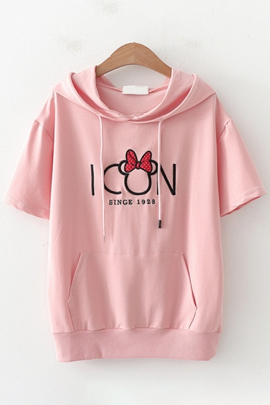 Preppy Girls Short Sleeve Drawstring Hooded Letter ICON Bow Tie Graphic Pouch Pocket Relaxed T-Shirt