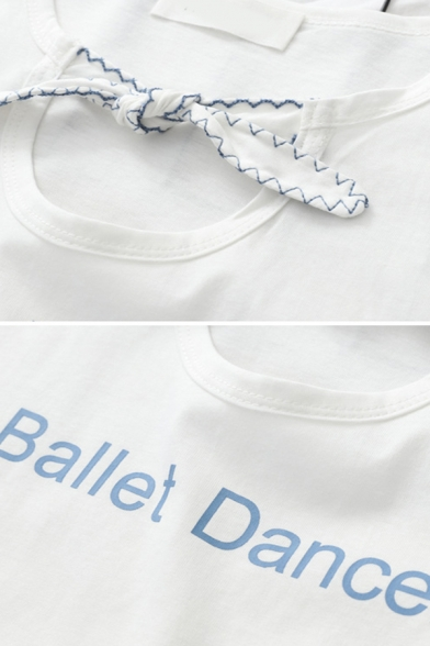 Stylish Ladies Short Sleeve Bow Tie Neck Letter BALLET DANCER Cut Out Ruffled Relaxed T Shirt