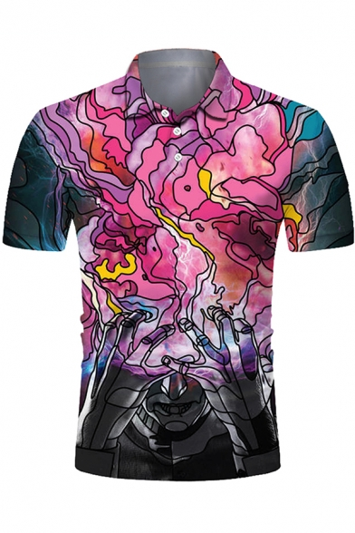 Stylish Mens Short Sleeve Lapel Neck Button Up Abstract 3D Printed Slim Fitted Polo Shirt