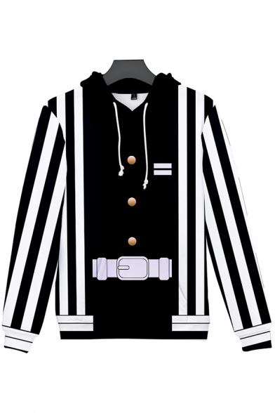 Chic Mens Long Sleeve Drawstring Button Stripe Belt Printed Colorblock Relaxed Hoodie with Pocket in Black