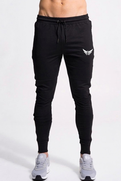 Cool Bodybuilding Drawstring Waist Logo Pattern Zipper Sides Cuffed Ankle Fitted Sweatpants