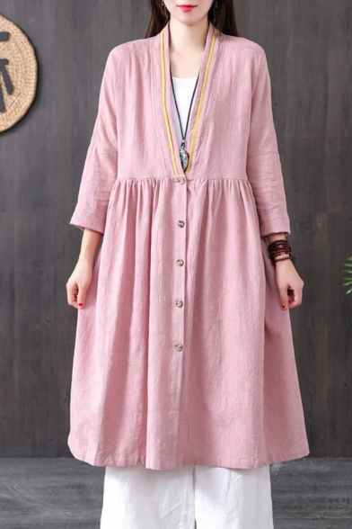 Harajuku Vintage Womens Long Sleeve Button Down Contrast Piped Cotton and Linen Long Pleated Loose Cardigan