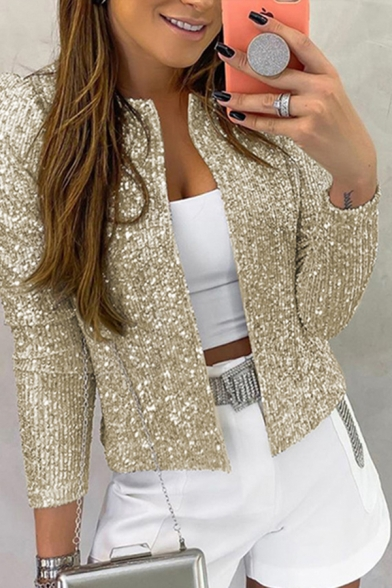 Hot Womens Long Sleeve Bling Bling Sequins Open Front Slim Fitted Plain Jacket
