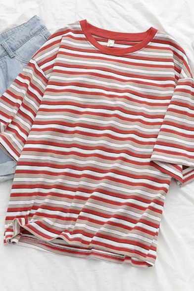 Trendy Womens Short Sleeve Round Neck Stripe Printed Loose Fit T-Shirt in Red