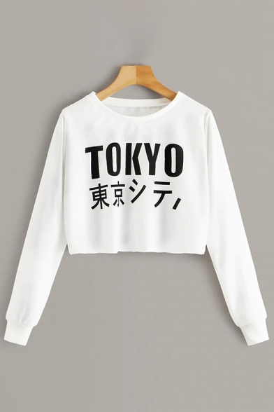 Womens Stylish Long Sleeve Round Neck Letter TOKYO Printed Relaxed Fit Cropped Pullover Sweatshirt