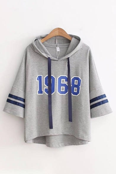 Casual Girls Three Quarter Sleeves Drawstring Number 1968 Varsity Stripe Graphic High Low Hem Relaxed Hoodie