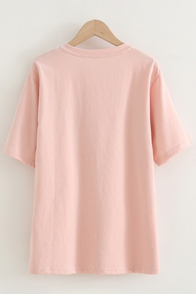 Chic Cute Girls Short Sleeve Round Neck Letter GAH Strawberry Graphic Loose Fit T-Shirt