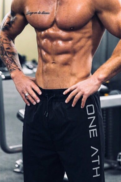 Chic Gym Mens Drawstring Waist Letter ONE ATH Relaxed Fit Jogger Shorts