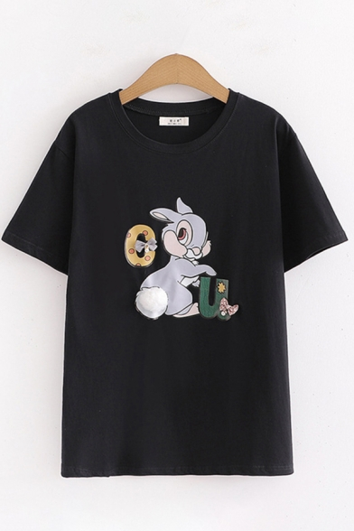 Fashionable Girls Short Sleeve Round Neck Rabbit Printed Regular Fit Tee Top LM612508 фото