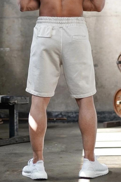 Fashionable Mens Drawstring Waist Solid Color Relaxed Fit Shorts