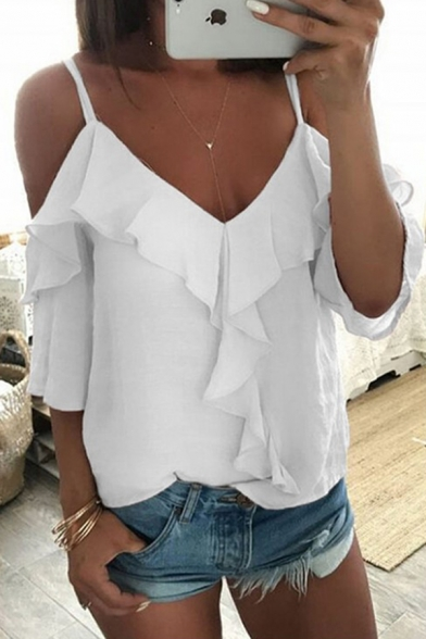 Leisure Sexy Girls Bell Sleeve Cold Shoulder Ruffled Trim Loose Blouse Top