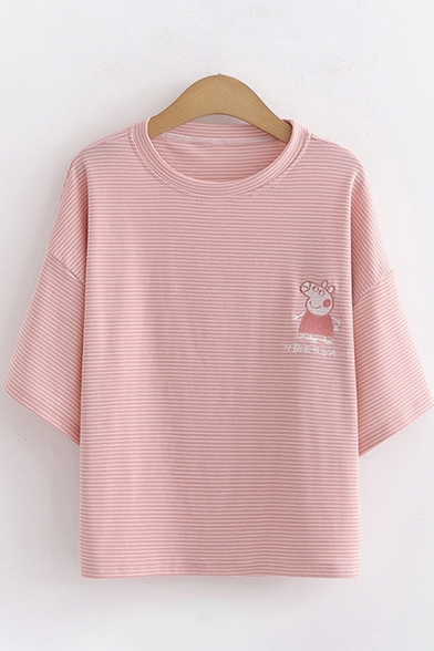 Leisure Womens Short Sleeve Round Neck Cartoon Pig Embroidered Striped Relaxed Fit T-Shirt