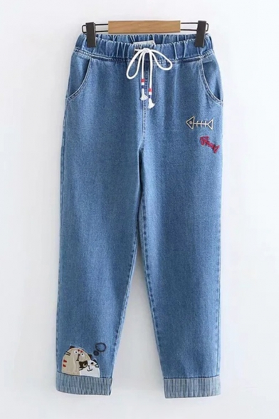 Baycheer / Popular Womens Drawstring Waist Cat Fishbone Embroidered Roll Edge Relaxed Ankle Jeans