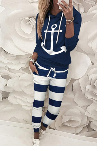 Popular Womens Long Sleeve Drawstring Anchor Printed Loose Hoodie & Striped Cuffed Ankle Sweatpants, White;dark blue, LM610885