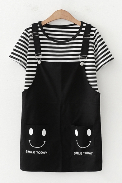 Popular Womens Short Sleeve Round Neck Stripe Printed Relaxed T-Shirt & Smile Face Graphic Relaxed Suspender Shorts, Black;pink;khaki, LM612429