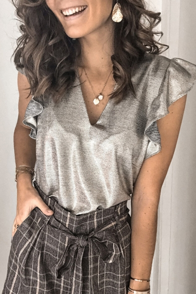 Stylish Womens Sleeveless V-Neck Ruffled Trim Relaxed Fit Tank Top in Gray