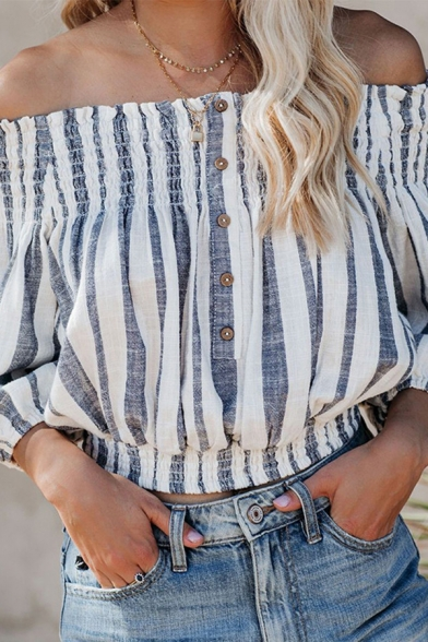 Womens Trendy Blouson Sleeve Off the Shoulder Button Up Stripe Printed Loose Fit Shirt in Blue