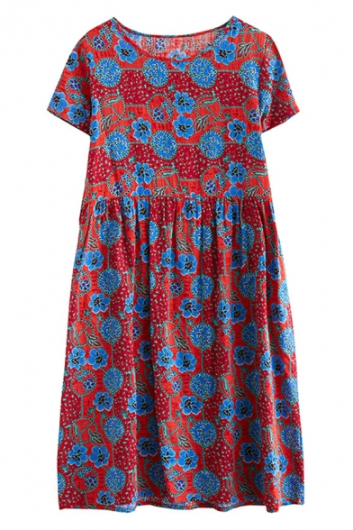 Fancy Popular Womens Short Sleeve Round Neck All Over Floral Print Linen Midi Swing Dress