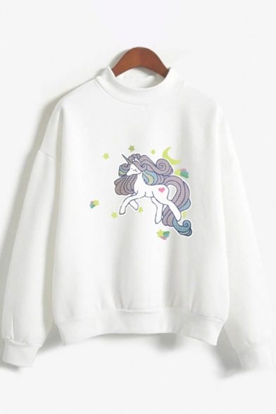 Fancy Womens Long Sleeve Mock Neck Unicorn Print Relaxed Fit Pullover Sweatshirt, Black;pink;white;gray, LC615754
