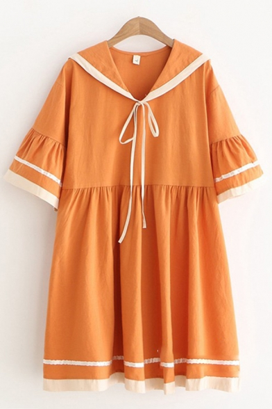 Lovely Girls Short Bell Sleeve Sailor Collar Bow Tie Front Contrast Piped Linen Ruched Short Swing Dress