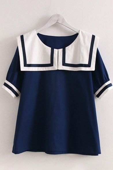 Preppy Girls Striped Short Sleeve Sailor Collar Contrasted Regular Fitted Blouse Top