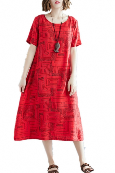 Retro Red Short Sleeve Round Neck Geometric All Over Printed Linen and Cotton Midi Oversize Dress for Women