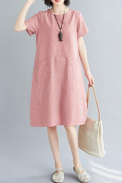 Retro Stylish Womens Short Sleeve Round Neck Stripe Print Panel Pocket Side Linen and Cotton Mid Swing Dress